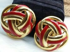 Vintage Ciner Huge Red Enamel Open Abstract Style Shiny Gold Tone Clip Earrings