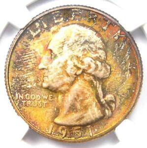 1951-S Washington Quarter 25C Rainbow Coin - Certified NGC MS68 - $3,250 Value!