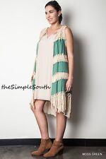 654514ecd4e New UMGEE Moss Green Long Fringe Gauze Drape Open Crochet Knit Sweater Vest  1XL