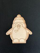 Pack of 5 MDF Penguin Christmas Decoration Animal Shape Embellishments