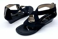 DONALD J PLINER Size 7.5 Black Strappy Small Wedge Thong Sandal Shoes