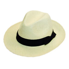 White crushable Packable Straw Panama Hat with Black Band, one size .