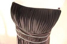 BCBG MAX AZRIA BLACK PETITE PLEAT SILVER PIPE MAXI STRAPLESS DRESS SZL NWT $268