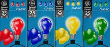 Glühbirne Glühlampe Farbig 25 Watt 220 Volt  ES (E27) Rot Gelb Grün Blau - NEU