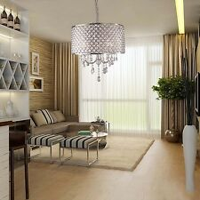 Chrome Crystal 4 Light Round Ceiling Chandelier Pendant Fixture Lighting Lamp