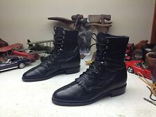 USA JUSTIN BLACK BULL LEATHER LACE UP KILTIE WESTERN WORK RODEO BOSS BOOTS 10 E