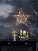 Stella Decorativa a Led illuminata Natale CROMO metallo argento, 2.5 x 47 x 45.5