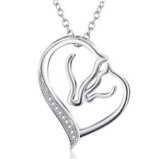 925 Sterling Silver CZ Mother and Child Horse Head Heart Pendant Necklace 18""
