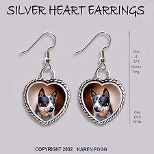 Australian Cattle Dog Black - Heart Earrings Ornate Tibetan Silver