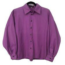 Eskandar Womens Size 0 XS Purple Long Sleeve Boxy Button Front Shirt Cotton