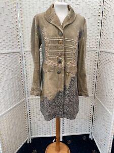 Elisa Cavaletti distressed cream velvet/knit designer jacket size 12-14 RRP £659