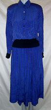 GUY LAROCHE Boutique Paris Vtg 2 Pc Blue Silk Skirt Suit Made in France 40 US 10