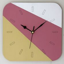 NEW 23cm Stripey Wooden Wall Clock - Handmade Pink Yellow Clock Modern Gift
