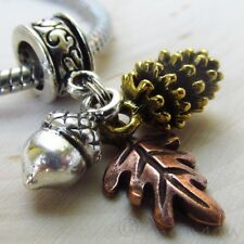 Autumn European Large Hole Charm - Gold Pine Cone, Silver Acorn And Copper Leaf
