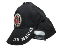 USMC Marines Marine Corps Black U.S. Marines Emblem Embroidered Cap Hat (RUF)