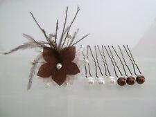 Pics/accessoires/épingles Cheveux Mariée/Mariage Marron/Chocolat/Cristal fleur
