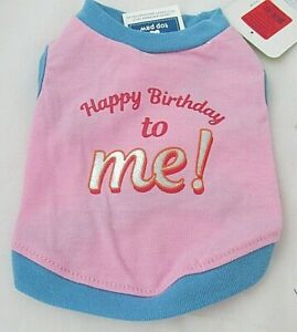 Top Paw Dog Shirt Happy Birthday to Me Pink Blue Gold Shiny NWT Size XS S or M