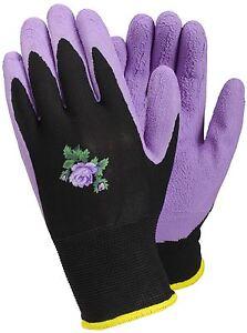 Tegera Ladies Womens Latex Waterproof Palm Gardening Work Gloves Purple / Black