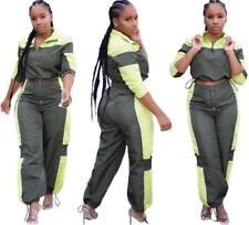 Fashion Women Long Sleeve Color Patchwork Loose Casual Sport Jumpsuit 2pcs