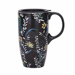 Coffee Ceramic Mug Porcelain Latte Tea Cup With Lid 17oz. Black