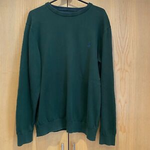 Joules Mens Green 100% Cotton Yarn Jumper Sweater Pullover Size Large Crew Neck