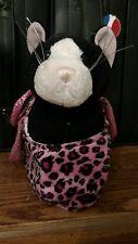 Black stuffed cat in a pink leopard purse EUC