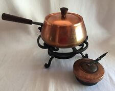 Vintage Fondue Pot Copper w/ Burner Warmer Danish Modern style