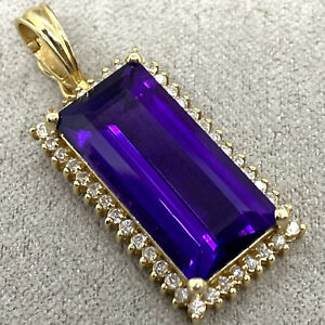 LARGE EMERALD CUT AMETHYST & DIAMOND IN 14K YELLOW GOLD PENDANT 585