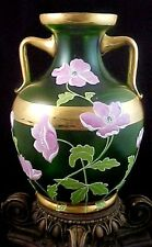 MONUMENTAL Antique Bohemian Green Enameled POPPIES Art Nouveau Glass Urn Vase