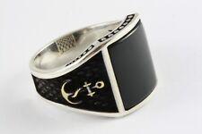 Capitán anclajes de marine anillo negro piedra sello anillo plata anillo 925 plata/475
