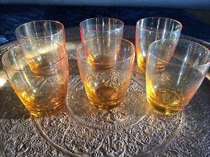 Vintage Amber glass tumblers 6 x large tumblers bar retro