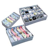 3PCS Foldable Organizer Drawer Storage Box Case For Bra Ties Underwear Socks US