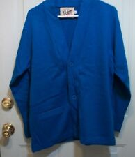Vintage 70'S Letterman sweater College, High School OCEAN BLUE SIZE MED. MEN'S