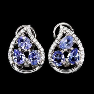 Unheated Oval Tanzanite 5x4mm Cz White Gold Plate 925 Sterling Silver Earrings