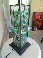 Lamp Light Stained Glass Asian Green Leaves Bamboo Desk Table Awesome Unique