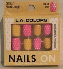 New La Nails Polka Dot Short Legnth Glue On Nails. Pink and Yellow