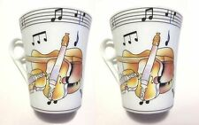 """""""VIOLINS w MUSIC NOTES"""" 2 PORCELAIN 8 oz COFFEE CUPS """"CLASSIC DESIGNS by YEDI"""""""