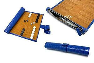 Roll up Folding Portable Travel Backgammon Game Set Blue Leather GREAT GIFT IDEA