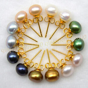 7 Colors Beauty 7-8mm Multi-Color Freshwater Pearl Gold Plated Stud Earrings