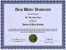 Doctor Bass Fishing Novelty Diploma Gag Gift Plug Lure