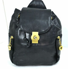 PERLINA SOFT BLACK HIGH QUALITY GENUINE LEATHER BACKPACK GOLD HARDWARE ONE STRAP
