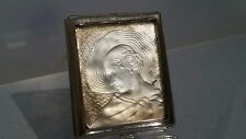 French Art deco metal compact set with a feature glass panel of a lady in a hat