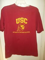 Cardinal Red USC Trojans Men/'s Distressed Arched Crew Neck T-Shirt