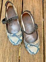 OTBT Gamine Aqua Gray Ballet Flats Loafers Leather Snake Shoes Size 7 ❤️sj18m6