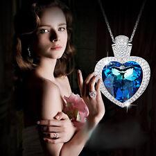 Halskette Titanic Herz Anhänger Collier mit Swarovski® Kristallen Silber 18KGP