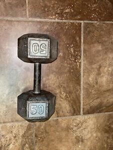 (1) 50 lb Cast Iron Dumbbell HEX Weight 50lb  Price Is For 1 Dumbbell