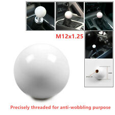 M12*1.25 White Gear Shift Knob Ball Short Throw Round Shifter Lever Thread Knob