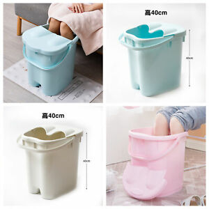 Tall 40cm Foot Spa Pedicure Bath Foot Knee Massage Bucket Feet Therapy with Lid