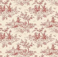 Wallpaper French Country Small Toile Red on Cream