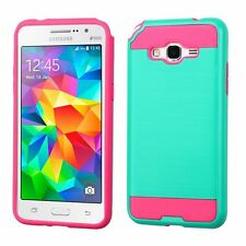 For Samsung Galaxy Grand Prime Teal Hot Pink Hard Silicone Hybrid Case Cover